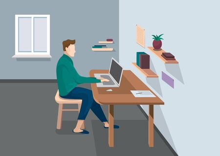 Male character working at home. Illustration of remote work in cartoon style.