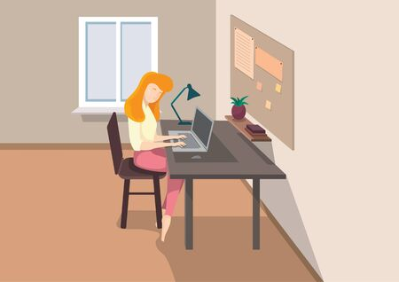 Female character working at home. Illustration of remote work in cartoon style.