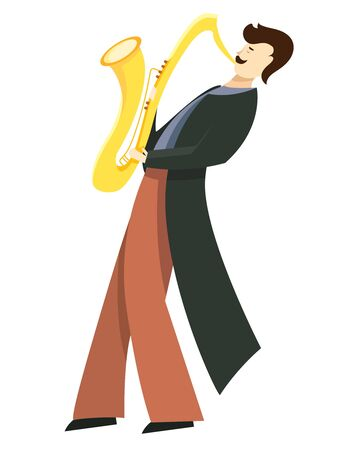 Jazz musician playing on saxophone. Vector illustration in flat style isolated on white background.