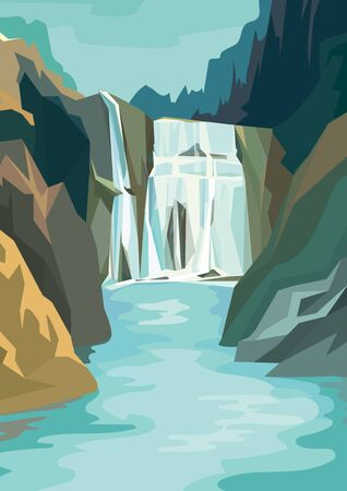 Beautiful waterfall landscape. Vector illustration in cartoon style.