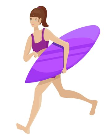 Girl running with surfboard. Surfer in cartoon style isolated on white background.