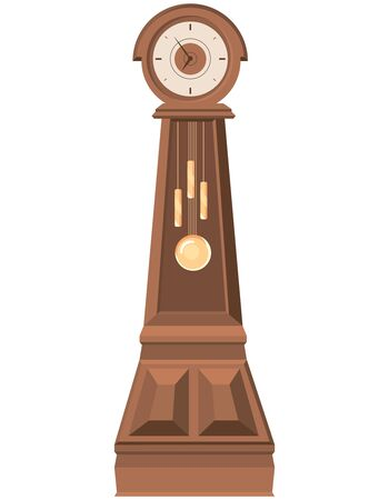 Floor clock in cartoon style. Beautiful vintage object.  イラスト・ベクター素材