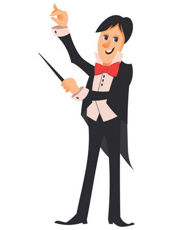 Conductor of orchestra. Character in cartoon style.