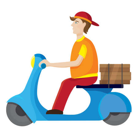 Pizza delivery man riding scooter.