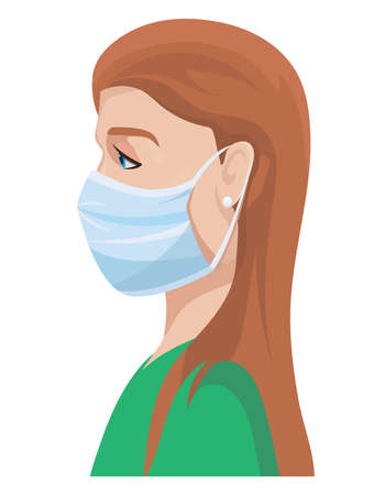 Woman in medical protection mask.