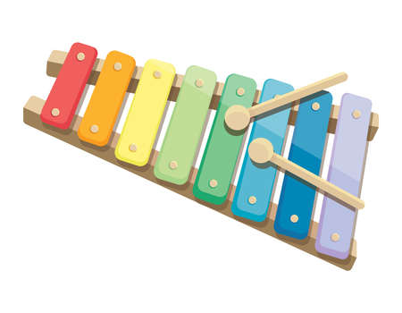 Children's xylophone. Bright toy in cartoon style isolated on white background. Vettoriali