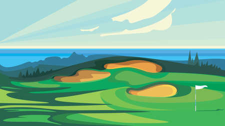 Green golf course. Illustration of outdoor sport.