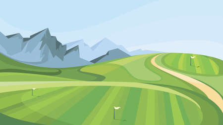 Golf course with mountains in the background. Illustration of outdoor sport. Ilustração Vetorial