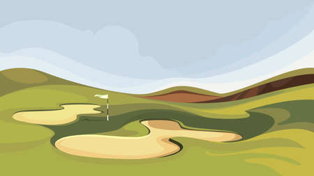 Golf course with sand traps. Illustration of outdoor sport.