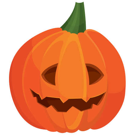 Pumpkin with happy face. Halloween attribute in cartoon style.