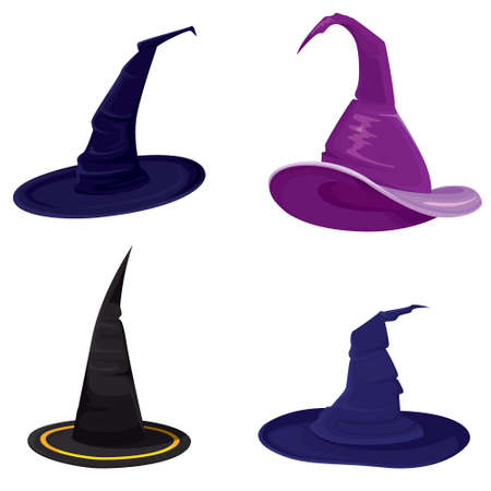 Set of different witch hats.