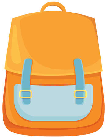 Orange school bag in cartoon style.
