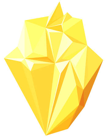 Realistic yellow gem. Beautiful nature crystal.
