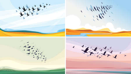 Migratory birds in sky. Beautiful wildlife sceneries. Vecteurs
