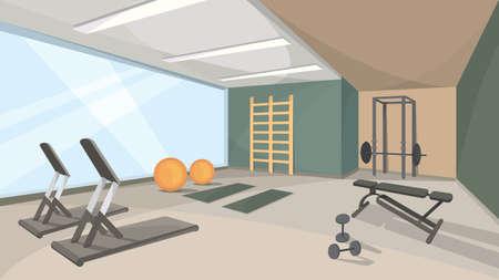 Background of gym with big window. Sports hall Interior. Vector Illustratie
