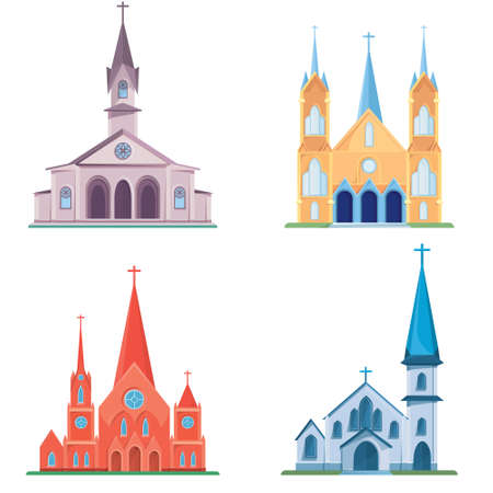 Set of different catholic churches.
