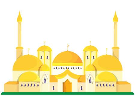 Big mosque in cartoon style.