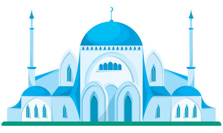 Big blue mosque in cartoon style.
