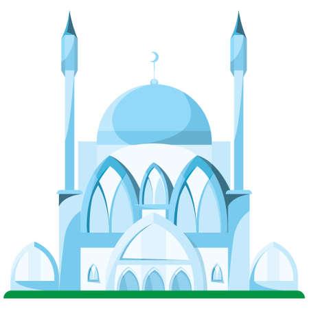 Blue mosque in cartoon style. Ilustração