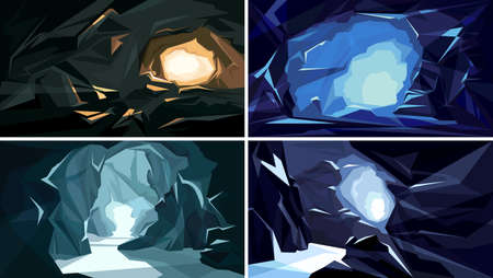 Collection of underground landscapes. Beautiful cave backgrounds.