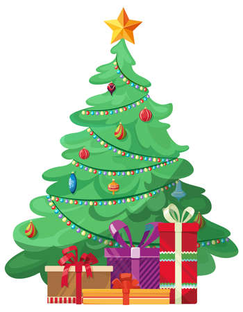 Beautiful christmas tree. Decorated spruce with gift boxes in cartoon style.