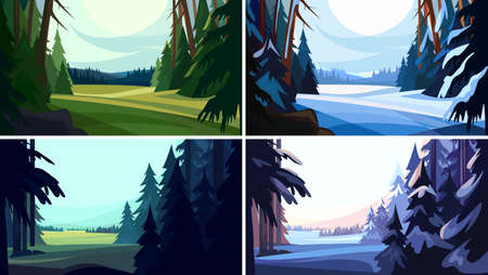 Collection of coniferous forests in cartoon style. Illustration