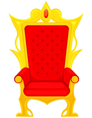 King throne in cartoon style. Red and gold royal armchair. Vecteurs