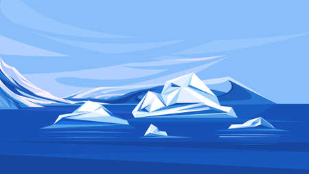 Arctic ocean with melting icebergs. Scenery of north pole.