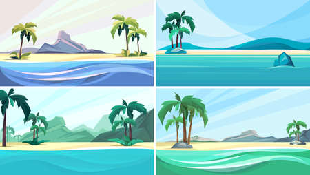Collection of desert islands. Beautiful nature sceneries.