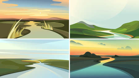Collection of river landscapes. Beautiful nature sceneries.