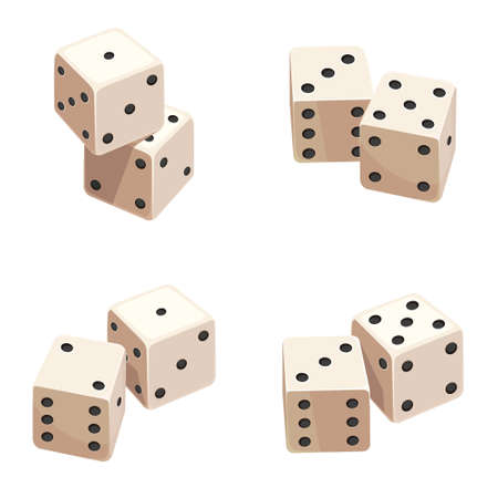 Dice in different angles. Objects of gambling game.