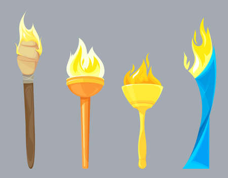 Set of different torches. Light equipments in cartoon style.