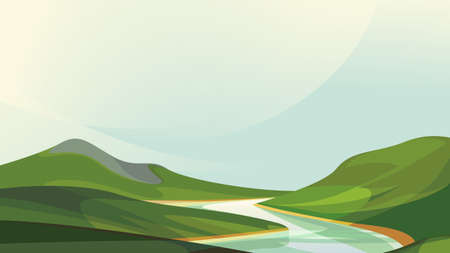 River flowing between plains. Beautiful nature scenery. Illustration