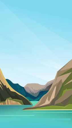 Beautiful scandinavian fjord. Nature landscape in vertical orientation. Иллюстрация
