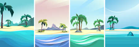 Collection of desert islands. Beautiful seascapes in vertical orientation.