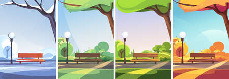 Park in different times of year. Non-urban scenes in vertical orientation.
