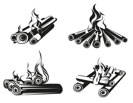 Set of bonfires in monochrome style. Burning wood logs.