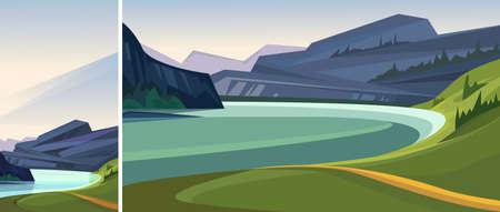 Beautiful norwegian fjord. Set of natural landscapes in vertical and horizontal orientation. Иллюстрация