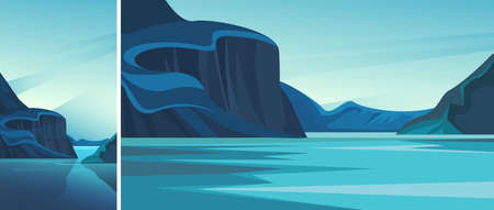 Fjord with blue water. Set of natural landscapes in vertical and horizontal orientation. Иллюстрация