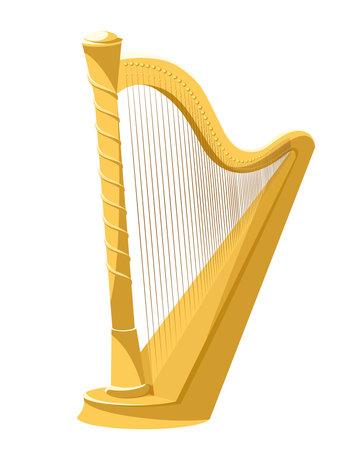 Classic golden harp. Vintage musical instruments.