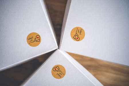 White paper boxex for cake and symbol backed with love
