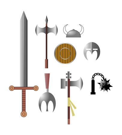 Viking medieval arms icons Illustration