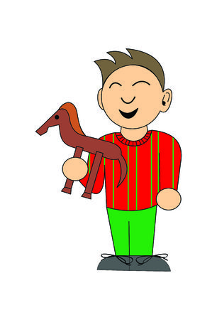 shoelaces: Boy with a toy horse