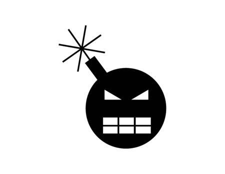 Angry bomb icon Vector illustration. Illustration