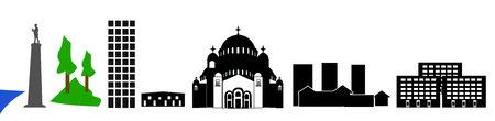 Belgrade landmarks simple illustration.