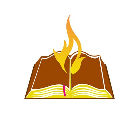 Flame from a book.