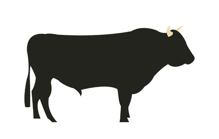Wagyu Chilean bull silhouette Ilustrace