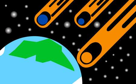 Apocalypse asteroids falling on Earth