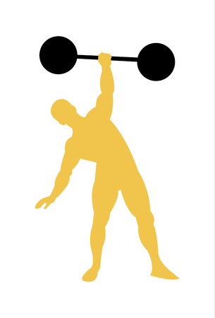 Vintage retro strong man bodybuilder silhouette