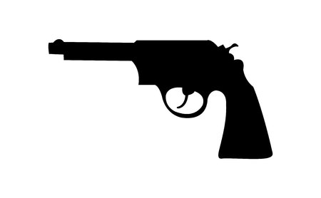 Simple black revolver gun silhouette